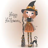 Little cute Halloween girl witch with black cat. Little cute Halloween girl witch with black cat and broom. Vector illustration Royalty Free Stock Images