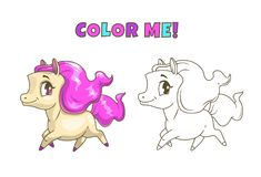 Little Cute Horse Illustration For Coloring Book Design Vector Colorful And Outline Pony Icons