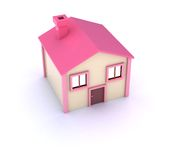 Little cute house. A 3d generated house (Home of a website, Real estate, etc Stock Image