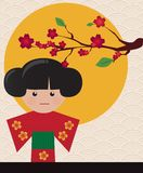 Little cute Japanese geisha character card Royalty Free Stock Image