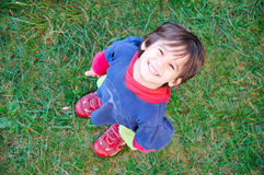 A little cute kid from above Stock Images