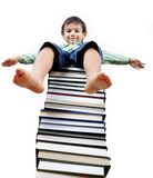 A little cute kid and  books Stock Photography