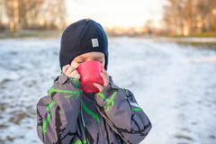 Little cute kid boy with cup of steaming hot chocolate or children punch. Happy child play in winter forest outdoors Stock Photo