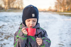 Little cute kid boy with cup of steaming hot chocolate or children punch. Happy child play in winter forest outdoors Stock Photos
