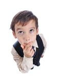 A little cute kid in business suit Stock Photo