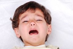 Little cute kid is crying Royalty Free Stock Image