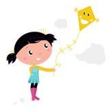 Little cute kid flying kite. Autumn girl flying kite in the air. Vector cartoon Illustration Royalty Free Stock Image
