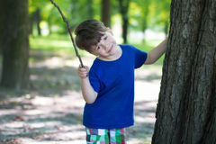 Little cute kid smile at park Stock Images