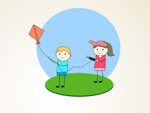 Little cute kids flying kite. Royalty Free Stock Photo