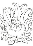 Little cute kind hedgehog lays and holds the mushroom in the paw. Coloring pages. Little cute kind hedgehog lays and holds the mushroom in the paws. There is Royalty Free Stock Image
