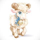 Little cute lamb with bell Stock Photo