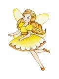 Little Cute Magic Fairy. Watercolor illustration. Royalty Free Stock Photos