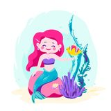 Little cute mermaid sitting on a rock. Siren with fish, coral, shellfish, seaweed. Sea theme. Vector illustration isolated on white background Stock Photos