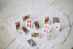 Little cute metal cards as a gambling concept stock images