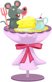 Little cute mouse eating vector illustration