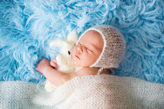 Little cute newborn baby boy, sleeping wrapped in white wrap Royalty Free Stock Images