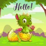 Little cute newborn baby dragon. Vector childish illustration. royalty free stock images
