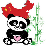 Little  cute panda  with bamboo and Chinese flag Royalty Free Stock Image