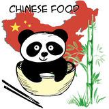 Little  cute panda , bamboo, Chinese flag and map, Chinese food, hand drawing Royalty Free Stock Photos