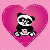 Little  cute panda in heart, hand drawing Royalty Free Stock Images