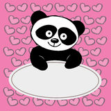 Little  cute panda with hearts , Stock Image