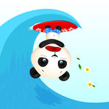 Little cute panic surfer panda in wave tube Stock Photography