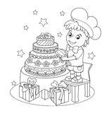 Little cute pastry chef. The book coloring. The little boy made a big beautiful cake. Greeting card on birthday or other holiday. Page from the book-coloring royalty free illustration