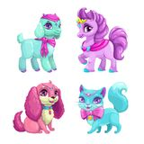 Little cute pets icons set. Funny animal princess collection. Vector girlish illustration Royalty Free Stock Photography