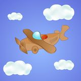 Little cute plane in the clouds Stock Photos