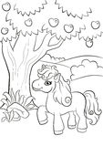 Little cute pony stands under the apple tree. Coloring pages. Little cute pony stands under the apple tree and smiling Stock Images