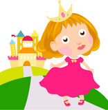 Little cute princess and castle Royalty Free Stock Photography