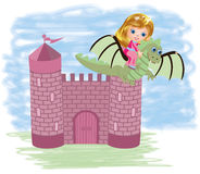Little cute princess and dragon Stock Images