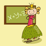 Little cute princess near the classboard Royalty Free Stock Images