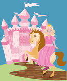 Little cute princess and pony Royalty Free Stock Photo