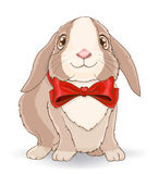 Little cute rabbit with red bow stock illustration