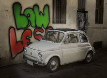 Little cute retro Italian car stock image