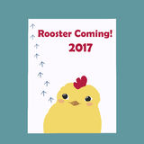 Little Cute Rooster Symbol of New Year 2017. Footprints track  cock hen chicken  Stock Photography