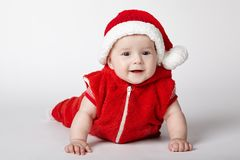 Little cute santa portrait on white Royalty Free Stock Images