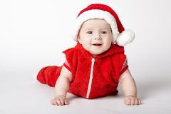 Little cute santa portrait on white Stock Images