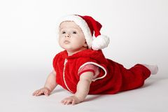 Little cute santa portrait on white Royalty Free Stock Image