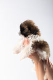 Little cute shih tzu puppy in the woman's hand Royalty Free Stock Photography