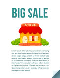 Little cute shop icon in cartoon style, Big Sale journal page template Royalty Free Stock Photos