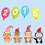 Little cute small animal  for happy new year 2016 vector illustr. Ittle cute small animal  for happy new year 2016 vector illustration EPS10 Royalty Free Stock Photos