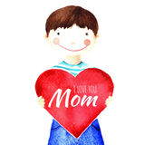 Little cute smiling boy holding a big red heart in his hands. I love you mother. Isolated watercolor drawing Stock Photo