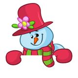 Little cute smiling snowman with scarf and woolen cap holding blank scroll for text invitation. Christmas or New year vector. Illustration Royalty Free Stock Image