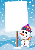 Little Cute Snowman and Christmas Sign Board Royalty Free Stock Photos