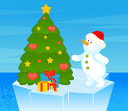 little cute snowman with fir-tree Royalty Free Stock Photography