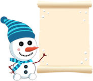 Little Cute Snowman and Parchment Sign Stock Photos