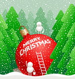 Little cute snowman write a greeting. Christmas illustration - little cute snowman write a  greeting on a giant bauble in the winter forest. Organized on layers Stock Images