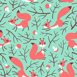 Little cute squirrels in the fall forest. Seamless autumn pattern for gift wrapping, wallpaper, childrens room or Stock Image